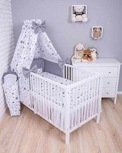 Amilian Baby Kinderbettwäsche, Bettwäsche: 7-teilig Set; Bettset mit Nestchen; Himmel; Bettbezug: 100x135cm; Kopfkissenbezug/ Kissenhülle/ Kissenbezug: 60 x 40 cm; Gute Nacht Grau (Vollstoffhimmel)