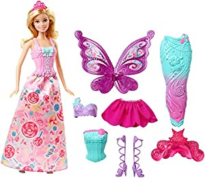Tell all kinds of fairytales with this gift set that includes Barbie doll with three complete character outfits -a princess, mermaid and fairy! Inspired by her candy kingdom, Barbie doll looks positively sweet in looks decorated with candy colors and...