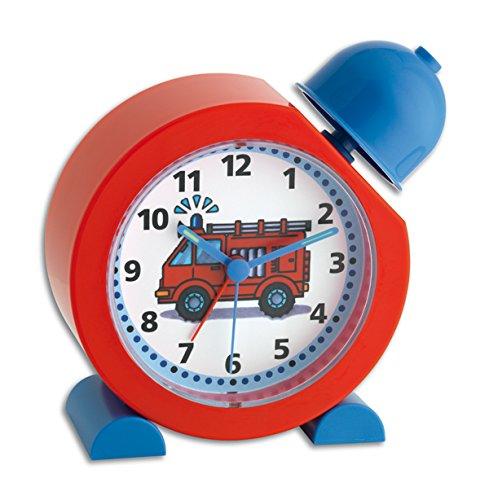 TFA Dostmann TATÜ-TATA Analoger Kinderwecker, 60.1011.05, Feuerwehr Uhr, für Kinder geeignet, einfache Bedienung, Rot, L158 x B68 x H173 mm