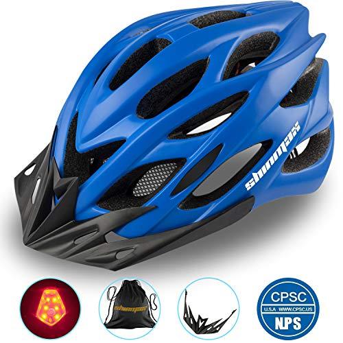 Shinmax Fahrradhelm mit Sicherheitslicht, Verstellbare Sport Bike Fahrradhelme für Motorrad für Erwachsene Männer Frauen Jugend Racing Sicherheit Schutz mit CE Zertifikat(Blau)