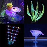 Podazz Decoración de acuario brillante con forma de planta de coral y efecto brillante, decoración artificial de silicona para pecera, acuario paisaje (juego de loto)