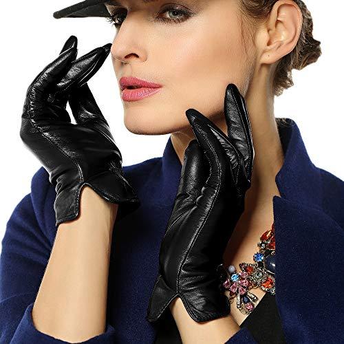 WARMEN Women's Touchscreen Texting Genuine Nappa Leather Glove Winter Warm Simple Plain Cashmere & Wool Blend Lined Gloves (Medium (7), Black (2017 New Touchscreen/Cashmere Blend Lining))