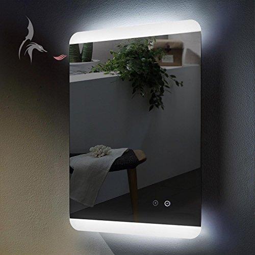 HOKO® LED Bad Spiegel beleuchtet mit ANTIBESCHLAG SPIEGELHEIZUNG, Essen 50x70cm, Montage Hoch- und Querformat möglich, Badezimmerspiegel mit Licht, Energieklasse A+ (WEEE-Reg. Nr.: DE 40647673)