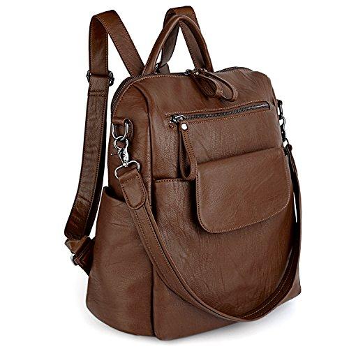 UTO Damen Backpack Purse PU gewaschen Leder Ladies Rucksack Schultertasche braun
