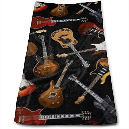 Hangdachang Guitarras Negro Personalidad Patrón Divertido Toallas faciales Fibra extrafina Super Absorbente Toallas de Gimnasio Suaves