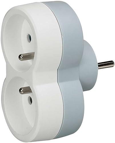 Legrand 050638 Fiche MultiPrise 2 Prises de Courant avec Sorties Frontales, 2P T, 16A, 230V, Blanc/Gris