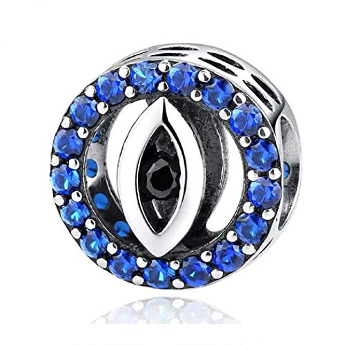 FeatherWish 925 Sterling Silver Lucky Hamsa Evil Eye Round Bead Charm With Blue Cubic Zirconia Compatible With Pandora Bracelet (Blue Cubic Zirconia)