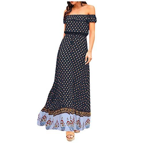 Vestido Bohemio de Playa Mujer Verano 2020, Dragon868 Vestido de Fiesta Fuera del Hombro, Vestidos Largos de Estampado Floral, Maxi Vestido de Cintura Alta con Cinturón