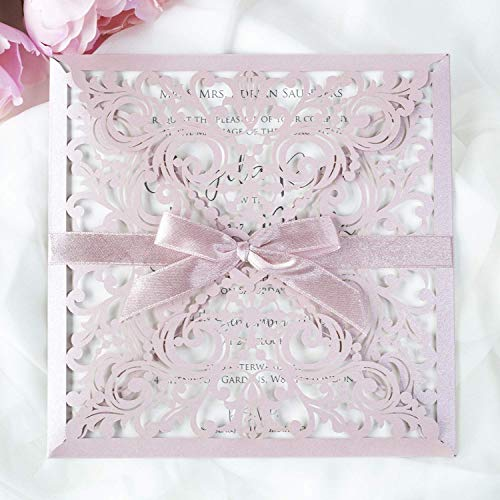 Lasergeschnittene Hochzeit Einladungskarten (50 Stück) - Rosa Spitze - Hochzeitskarten, DIY Einladung