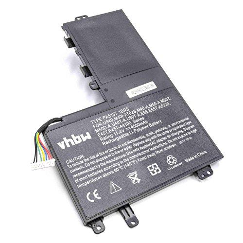 vhbw Batería Recargable Compatible con Toshiba Satellite U50T-A-10e, U50T-A-10H, U940 Notebook (4000 mAh, 11,4 V, polímero de Litio)
