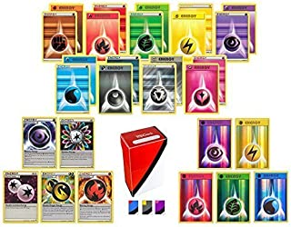 100 Pokemon Energy Cards includes 90 Basic Energy Cards, 5 Holo Energy Cards, 5 Special Non-Basic Energy Cards and Totem D...