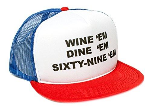 Wine Em Dine Sixty Nine Em 69 Flat Bill Unisex-Adult One-Size Trucker Hat (Royal/White/Red)