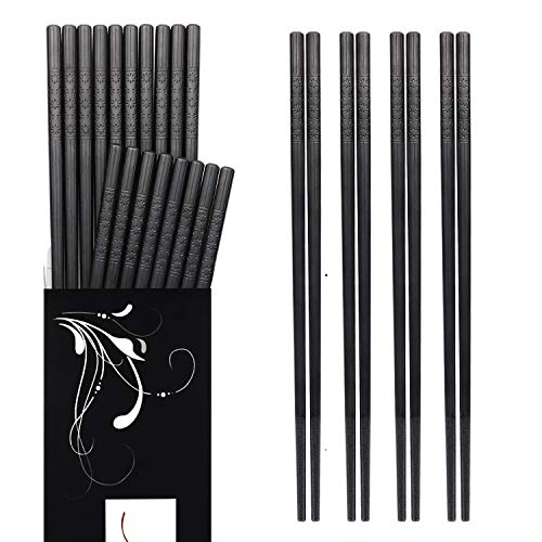 Annvchi EssStäbchen 10 Paar - Japanische Chopsticks Schwarz Stäbchen für Asiatisches Geschirr