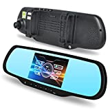 E-PRANCE H700 Dual Lens Car GPS Backup Camera Rearview Mirror 1080P Full HD with Android 4.0.3 OS + 5' Touch Screen + 170 Degree Ultra Wide Angle View + Bluetooth Handsfree + Built-in 8GB ROM Memory