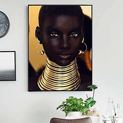 Zwart meisje gouden oor ketting woonkamer muurschildering canvas poster moderne foto decoratie frameloze schilderij 60x90cm