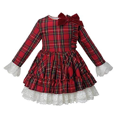 LULIJP Ropa de los nios otoo de Manga Larga de Manga roja Inglaterra Vintage Vintage Espaol Bola Vestido Vestido Chica Fiesta de Navidad (Color : Red Plaid Dress, Kid Size : 4T)