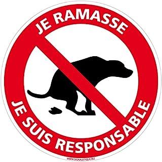 Adhésif - Déjections Canines - Je Ramasse, Je suis Responsable - Diamètre 280 mm - Protection Anti-UV