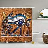 CHENHAO Cortina de Ducha Papyrus de Arte Antiguo Egipcio Lavable Que representa el diseño de Ojos de Horus Impresión de Tela de poliéster Baño Impermeable 120X180cm