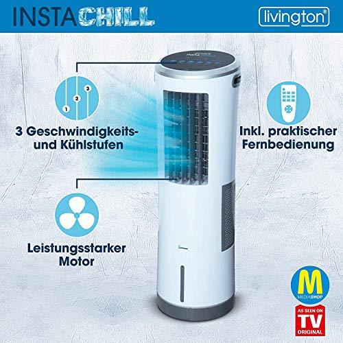 Livington InstaChill – Klimagerät mit Verdunstungskühlung – mobiles Klimagerät mit 3 Stufen – Klimagerät ohne Abluftschlauch 12h Kühlung mit 8,5 L Tank - 6