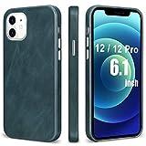 TOOVREN MagSafe 対応 iphone12pro ケース レザー iphone12 ケース 本革 アイフォン12 ケース 純正 薄型 iphone12proレザーケース スマホケース iphone12カバー 本皮 MIL規格 qi対応 6.1インチ 5G 2020 紺