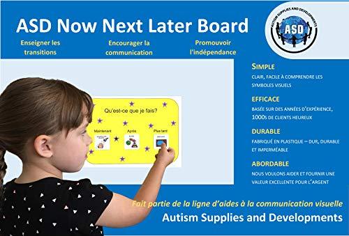 Tableau de Maintenant - Après - Plus tard Français) (produit de communication visuelle en plastique et étanche pour l'autisme)