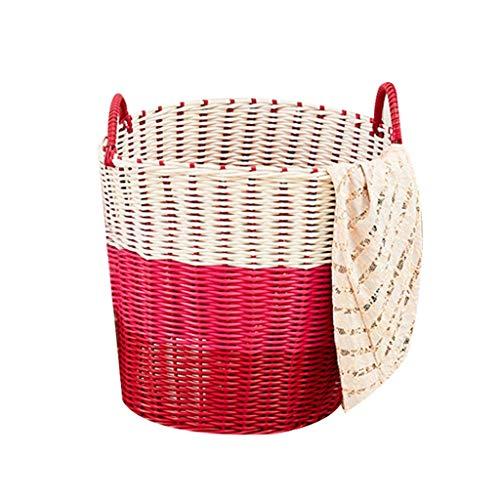 Cesta para guardar ropa sucia, cesta de lavandería de mimbre de plástico Cesta para guardar juguetes (Color : Red)