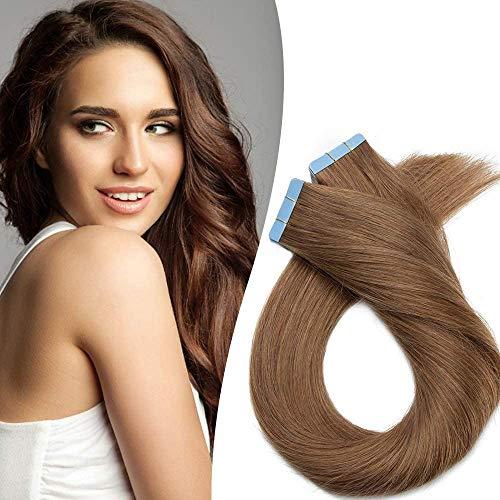 Elailite Extension Capelli Veri Biadesivo Negozio Top 20 Fasce Adesive 40cm Tape in Hair Extensions Biadesive 50g/Set 100% Remy Human Hair Naturali senza Clip #6 Castano