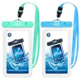 HeySplash Floating Waterproof Phone Case, (2 Pack) Underwater Cellphone Pouch Dry Bag with Lanyard Compatible with iPhone 12/12 mini/12 Pro/Pro Max/11 Pro Max/XS Max/11/XR/SE, Up to 7' Blue+Green