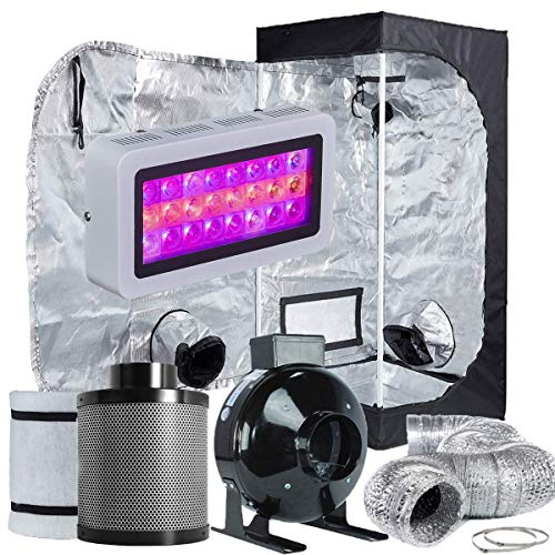 """TopoLite Grow Tent Room Complete Kit Hydroponic Growing System LED 300W/ 600W/ 800W/1200W Grow Light + 4""""/ 6"""" Carbon Filter Combo + Multiple Size Dark Room (LED300W+24""""X24""""X48""""+4"""" Filter Combo)"""