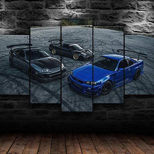 Bilder 100X55Cm Vlies Leinwandbild 5 Tlg Kunstdruck Modern Wandbilder Xxl Wanddekor Design Wand Bild -Jdm Nsx Nissa Skyline Toyota Supra - Kunstdruck Xxl 5 Teilig
