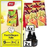 PIC - Fruchtfliegenfalle, Obstfliegenfalle und Essigfliegenfalle - 2 Lockstoffbehälter mit 4 Leimfallen für extra Lange Wirkung - Mittel um Fruchtfliegen zu bekämpfen - Geeignet für die Küche