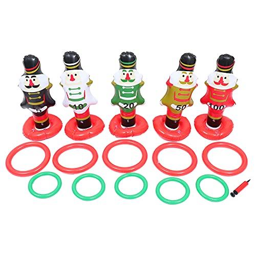 CLISPEED 1 Set Gigante Gonfiabile di Natale Anello Toss PVC Gonfiabile Pupazzo di Neve Schiaccianoci Anello Toss Gioco da Interni Giochi all' Aperto per La Festa di Natale Forniture Favori
