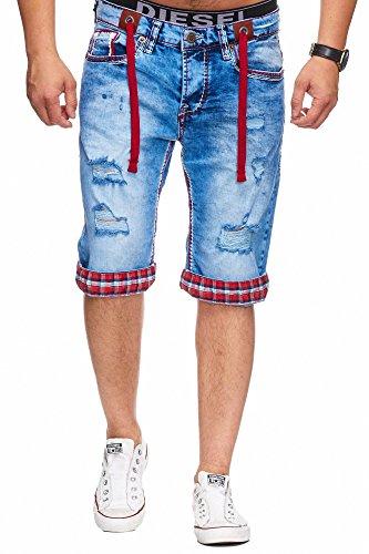 L.gonline Bermuda Shorts Herren Jeans Shorts Dicke Naht (W36,H-Rot)