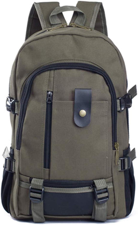 Computer Backpack School Laptop Bag Hiking Travel Rucksack Mens Vintage Canvas Backpack (color   Army Green)