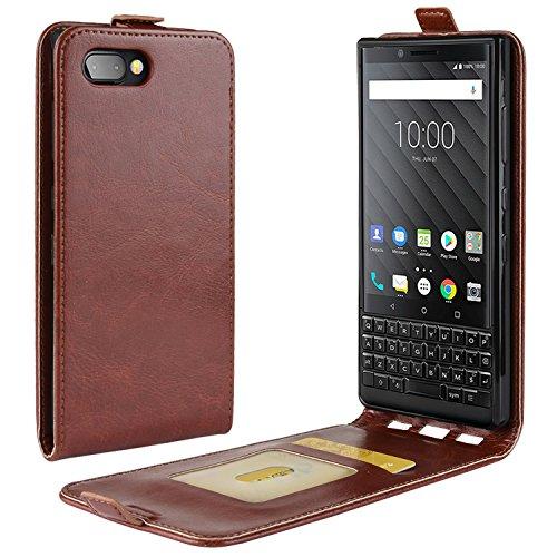 HualuBro BlackBerry KEY2 Hülle, Premium PU Leder Leather HandyHülle Tasche Schutzhülle Flip Hülle Cover mit Karten Slot für BlackBerry Key 2 Smartphone (Braun)