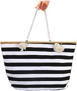 Large Canvas Striped Beach Bag - Top Zipper Closure - Waterproof Lining - Tote Shoulder Bag For Women's Shoulder Handbags Beach Travel (Black)