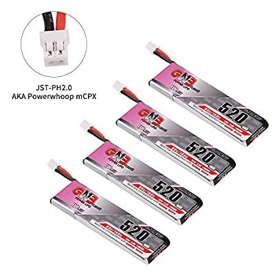 GAONENG 4pcs 520mAh 1S 3.8V LiPo Battery 80C HV LiHv Battery JST-PH 2.0 PowerWhoop mCPX Connector Upgraded for Inductrix FPV Plus EMAX Tinyhawk Micro FPV Racing Drone etc