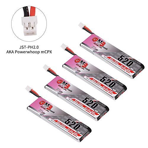4pcs 520mAh 1S 3.8V LiPo-Batterie 80C HV LiHv-Batterie JST-PH 2.0 PowerWhoop MCPX-Anschluss für Inductrix FPV Plus EMAX Tinyhawk Micro FPV, der Drohne etc