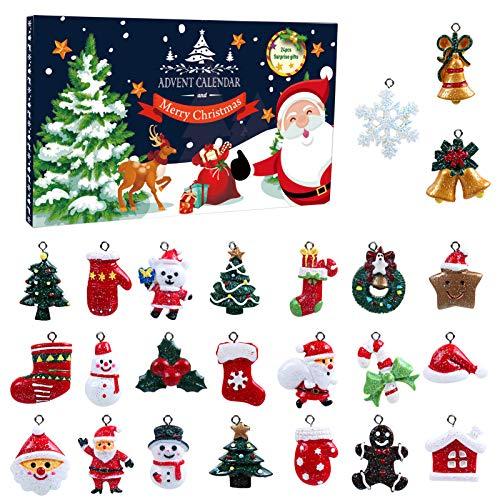 LEMESO 24 Pezzi Pendenti Natale Ciondoli Natalizi Calendario dell'Avvento Regalo Confezione Fascino della Resina Decorazione dell'Albero Natale Babbo Natale Pupazzo Calze Bastoncino Fiocco di Neve