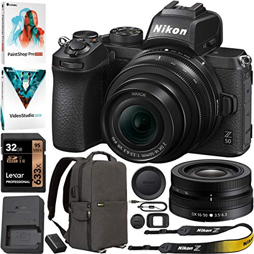 Nikon Z50 DX Mirrorless Camera Body w NIKKOR Z DX 16-50mm f/3.5-6.3 VR Lens (Renewed) Bundle with Lexar 32GB SDHC UHS-1 Memory Card, Deco Gear Photo and Video Backpack, Software Suite PaintShop Pro