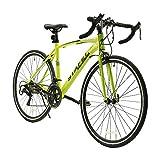 LUCK store ロードバイク スポーツバイク 700C シマノ14段変速 2WAYブレーキシステム搭載 ドロップハンドル 超軽量高炭素鋼フレーム ライトのプレゼント付き 自転車 01 (グリーン)
