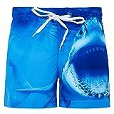 Fanient Jungens 3D Printed Funny Badehosen Schnell Trocknendes Strandkleidung Sports Running Baden Board Kurze Hosen (A-Shark, 6-7Jahre)