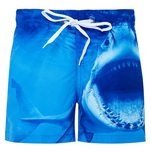 Fanient Jungens 3D Printed Funny Badehosen Schnell Trocknendes Strandkleidung Sports Running Baden Board Kurze Hosen (A-Shark, 8-9Jahre)