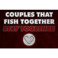 アルミメタルノベルティ危険サイン、一緒に魚が一緒にいるカップル釣り、警告ハザードメタルブリキサインメタルサインとガーダーン屋外&屋内サイン用危険エリア