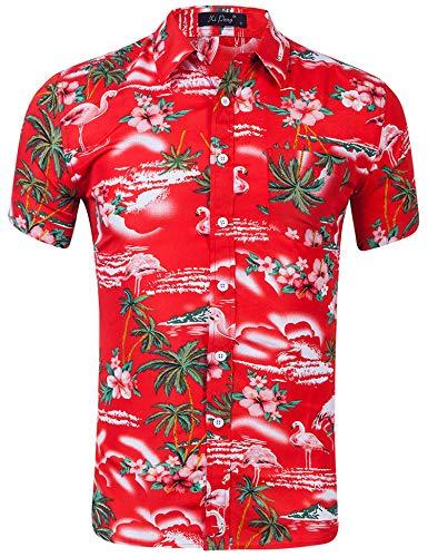 AIDEAONE Herren Hawaii Aloha Hemd Kurzarm Urlaub Hemd Strandkleidung Rot