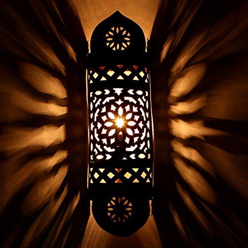 Orientalische Wandlampe Marokkanische Wandleuchte EWL15 | H 53 x B 15 cm edel rost-braun handgefertigte Eisen Wandstrahler | Prachtvolle Eisenlampe für tolle Lichteffekte wie aus 1001 Nacht | L1639