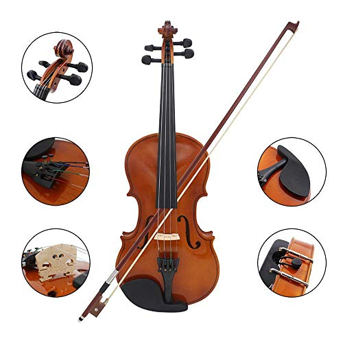 Volwco Full Size 1/4 Solid Wood Violin for Beginners/Students,Professional Acoustic Violin Starter Kit with Case,Bow and Rosin