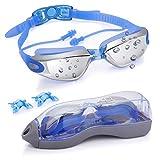 POAO Schwimmbrille Erwachsene, Schwimmbrille UV Schutz Antibeschlag mit Einteiligem Ohrstöpsel 3...
