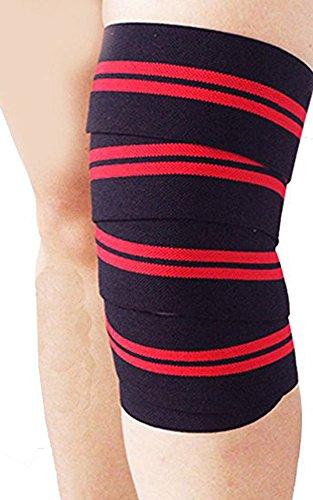 DODOING Kniebandage [2er Set mit Klettverschluss] Knee Wraps 175cm - Profi Knie Bandagen für Kraftsport, Bodybuilding, Powerlifting, Crossfit & Fitness - Für Frauen & Männer geeignet