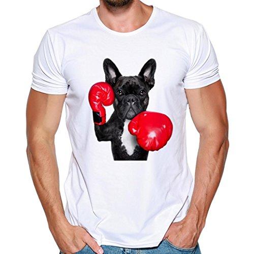 Blusa De Hombres,ZARLLE Perro De Boxeo Impresion De Camisetas De Manga Corta Camiseta Blusa Camisa Personalidad De Moda Slim Sport Blusa Para Hombres Camisetas Fitness Casual De Verano